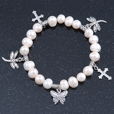 10mm Freshwater Pearl With Butterfly and Cross Charm Stretch Bracelet (Silver Tone) - 20cm L - main view