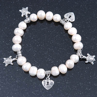 10mm Freshwater Pearl With Heart and Turtle Charm Stretch Bracelet (Silver Tone) - 20cm L - main view