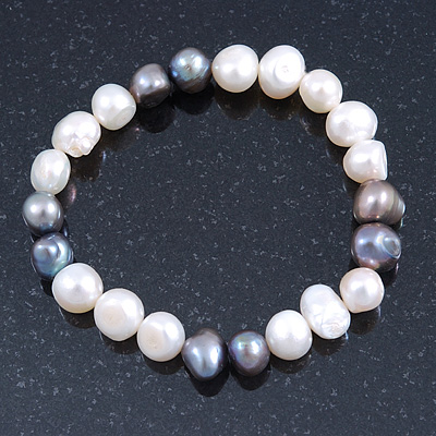 9mm Classic Light Cream and Grey Freshwater Pearl Stretch Bracelet - 18cm L - main view
