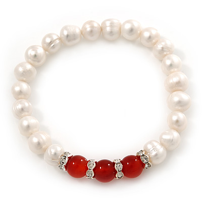 8mm White Freshwater Pearl with Semi-Precious Carnelian Stone Stretch Bracelet - 18cm L - main view