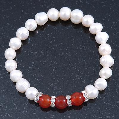 8mm White Freshwater Pearl with Semi-Precious Carnelian Stone Stretch Bracelet - 18cm L