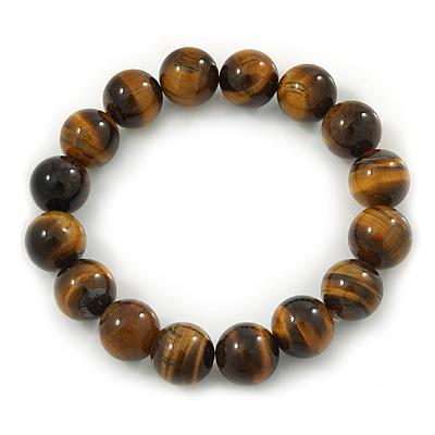 12mm Round Tiger Eye Semi-Precious Bead Flex Bracelet - 18cm L