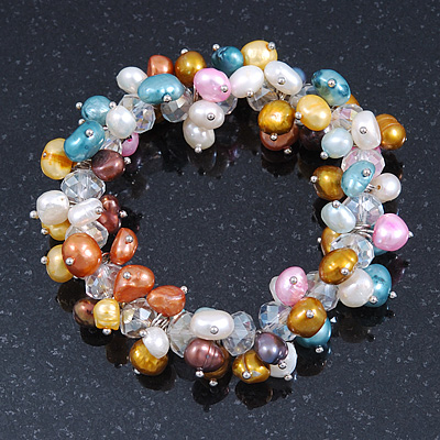 7mm Multicoloured Freshwater Pearl and Transparent Glass Bead Stretch Bracelet - 18cm L - main view