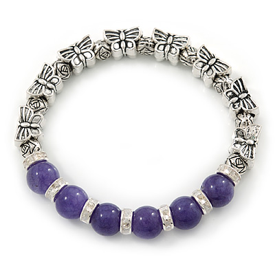 Antique Silver Tone Butterfly Bead And 10mm Dyed Purple Agate Stone Stretch Bracelet - 19cm L