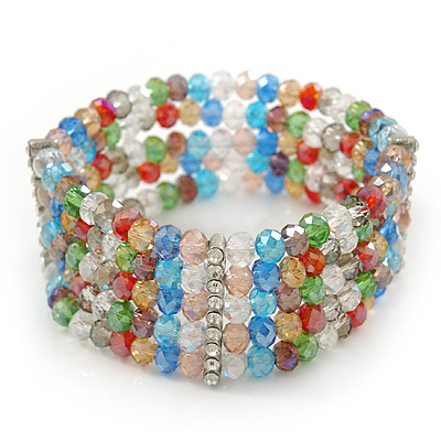 5 Strand Multicoloured Glass Bead Flex Bracelet With Crystal Bars - 20cm L - main view