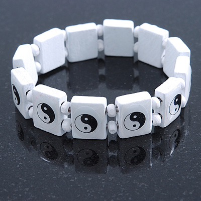 White 'Yin Yang' Stretch Wooden Icon Bracelet - Adjustable