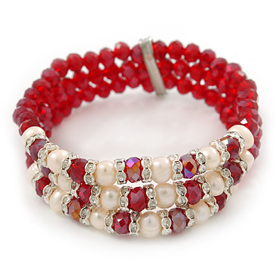 3 Strand Red Glass Bead, White Freshwater Pearl Stretch Bracelet - 19cm L - main view