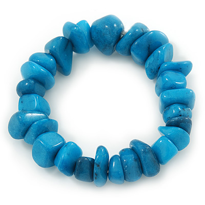 Turquoise Coloured Agate Chip Semi-Precious Stone Flex Bracelet - 18cm L