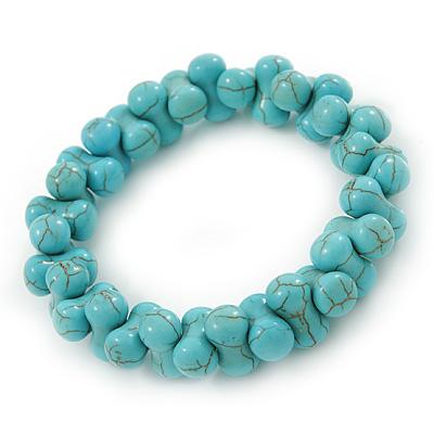 Contemporary Bone Shape Turquoise Bead Flex Bracelet - 19cm L - main view