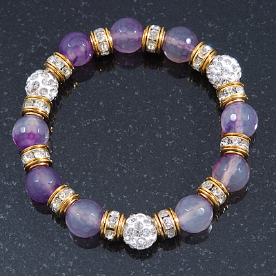 10mm Faceted Lavender Agate Stone, Gold Crystal Spacers And White Crystal Balls Flex Bracelet - 17cm L