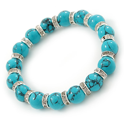10mm Classic Turquoise Bead With Crystal Ring Flex Bracelet - 19cm L