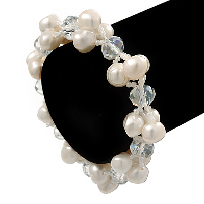 9mm White Off Round Freshwater Pearl Cluster Flex Bracelet - 17cm L - main view