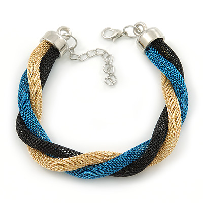Black, Turquoise, Gold Twisted Mesh Bracelet In Silver Tone - 16cm L/ 4cm Ext