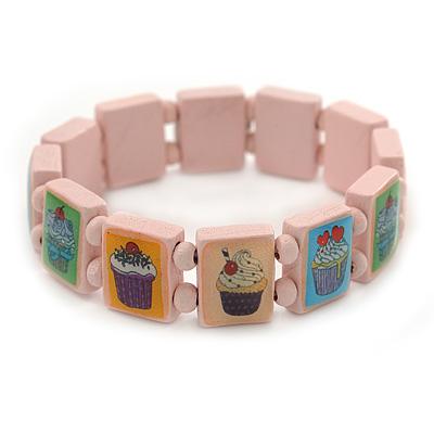 Light Pink Cupcake Wooden Stretch Icon Bracelet - 18cm L
