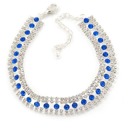 Clear/ Sapphire Blue Austrian Crystal Bracelet In Rhodium Plating - 18cm L/ 5cm Ext