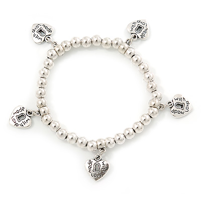 Silver Tone Bead Flex Bracelet With Heart Charms - 18cm L
