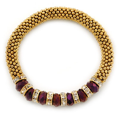 Gold Plated Snowflake Rings with Purple Crystal Beads Flex Bracelet - 17cm L