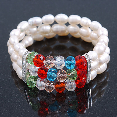 3 Row Cream Freshwater Pearl, Multicoloured Crystal Bead Flex Bracelet - 19cm L