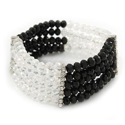 5-Strand Black/ Transparent Glass Bead Flex Bracelet With Crystal Bars - 20cm L - main view