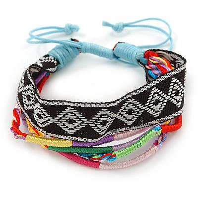 Unisex Handmade Multicoloured Cotton Woven Friendship Bracelet - Adjustable - main view