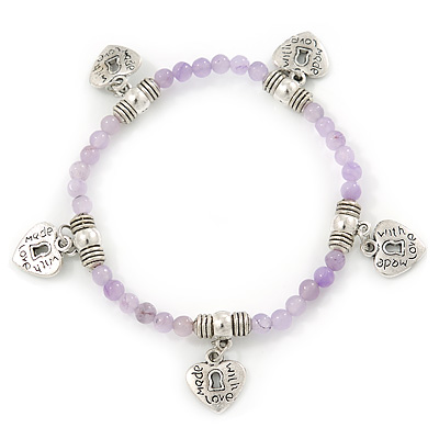 Pale Lilac Semiprecious Stone with Heart Charms Stretch Bracelet - 20cm L