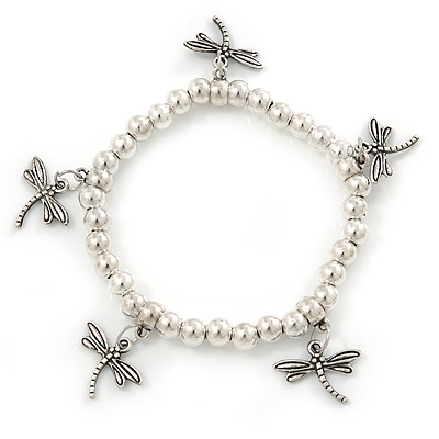 Silver Tone Metal Bead With Dragonfly Charm Flex Bracelet - 18cm L - main view