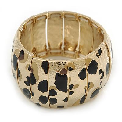 Gold Tone Wide Hammered With Leopard Print Flex Bracelet - 19cm L