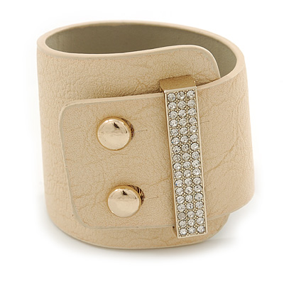 Statement Wide Magnolia Leather Style with Crystal Closure Bracelet - 18cm L