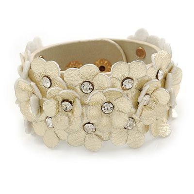 Light Gold Metallic Floral Leather Style Wristband Bracelet - 18cm L