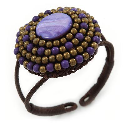 Purple/ Bronze Shell Bead, Dome Shape Woven Flex Cuff Bracelet - Adjustable