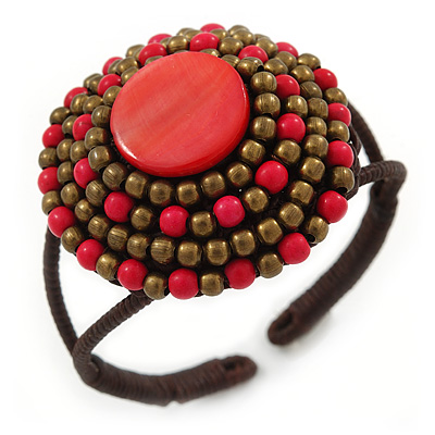Red/ Bronze Shell Bead, Dome Shape Woven Flex Cuff Bracelet - Adjustable