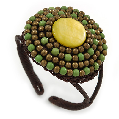 Lime Green/ Bronze Shell Bead, Dome Shape Woven Flex Cuff Bracelet - Adjustable