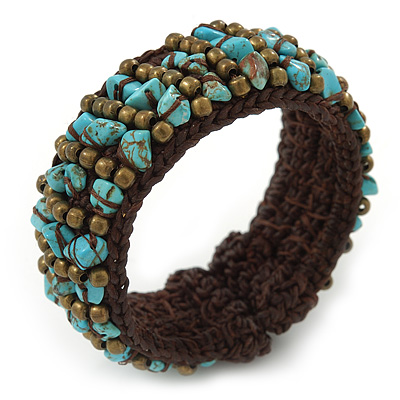 Turquoise Chips, Bronze Bead, Dark Brown Cotton Thread Flex Wire Cuff Bracelet - Adjustable