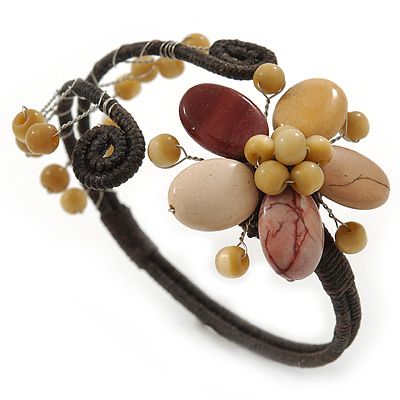 Semiprecious Beaded 'Flower' Flex Bangle Bracelet in Brown/ Cream Tone - Adjustable - main view
