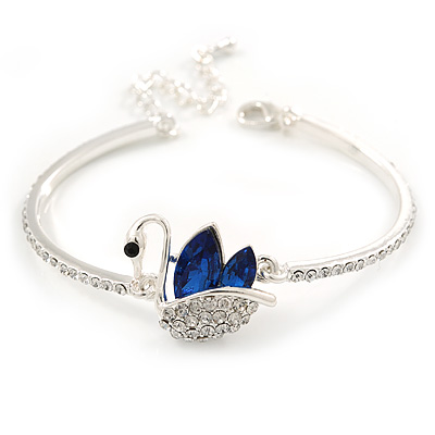 Exquisite Clear Crystal, Blue CZ Swan Bracelet In Rhodium Plating - 18cm L/ 5cm Ext