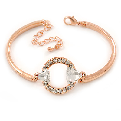 Cz, Clear Crystal Open Cut Circle Bangle Bracelet In Rose Gold Metal - 17cm L/ 5cm Ext
