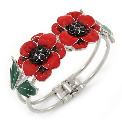 Red/ Black/ Green Enamel, Crystal Poppy Floral Hinged Bangle Bracelet In Silver Tone - 19cm L