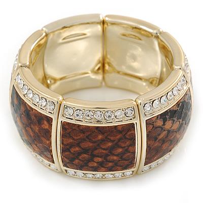 Brown Snake Print, Crystal Flex Bracelet In Gold Tone - up to 18cm L