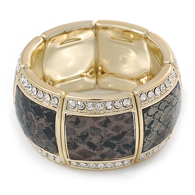 Grey/ Black Snake Print, Crystal Flex Bracelet In Gold Tone - up to 18cm L