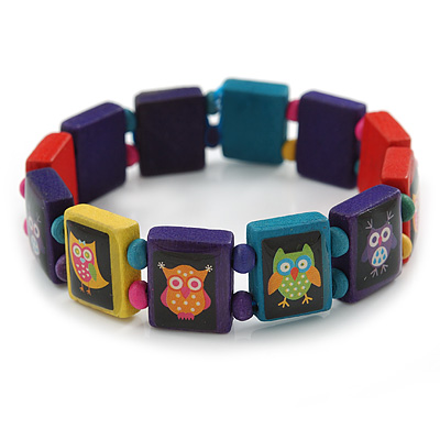 Multicoloured Wooden Owl Flex Bracelet - Adjustable