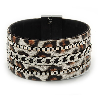 Wide Animal Pattern with Chain Detailing Magnetic Bracelet In Silver Tone - 18cm L