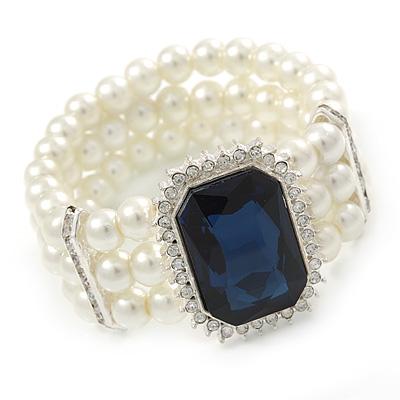 Bridal, Wedding, Prom Multistrand Glass Pearl with Square Montana Blue Glass Pendant Flex Bracelet - 18cm L