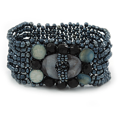 Hematite Coloured Glass Bead Flex Bracelet with Shells - up 20cm L