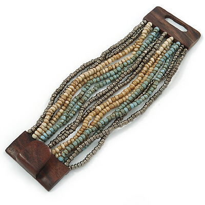 Dusty Light Blue/ Metallic Grey/ Antique White Glass Bead Multistrand Flex Bracelet With Wooden Closure - 19cm L - main view