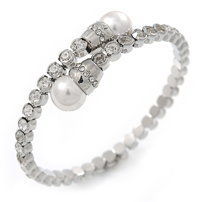 Bridal/ Wedding/ Prom Clear Crystal, White Glass Pearl Flex Bracelet In Rhodium Plating - Adjustable - main view