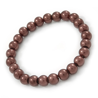 8mm Chocolate Brown Pearl Style Single Strand Bead Flex Bracelet - 18cm L - main view