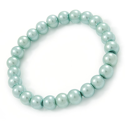 8mm Pale Green Pearl Style Single Strand Bead Flex Bracelet - 18cm L