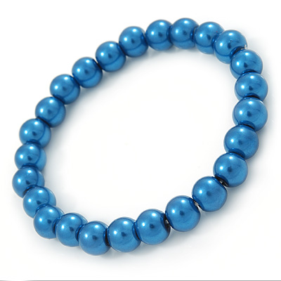 8mm Cobalt Blue Pearl Style Single Strand Bead Flex Bracelet - 18cm L - main view