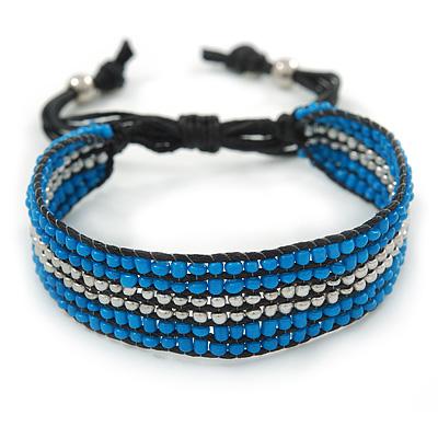 Unisex Blue/ Silver Glass Bead Friendship Bracelet - Adjustable