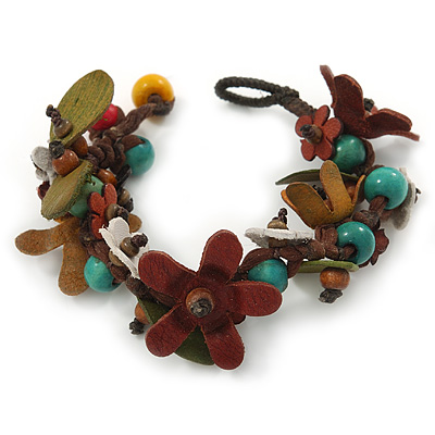 Handmade Multicoloured Leather Flowers, Wood Bead Bracelet with Button and Loop Closure - 16cm L (For smaller wrists)
